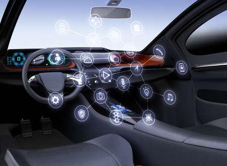 Concept autonome d'intérieur de voiture. Conception plate d'icônes multimédia sur l'écran tactile central. Image de rendu 3D.
