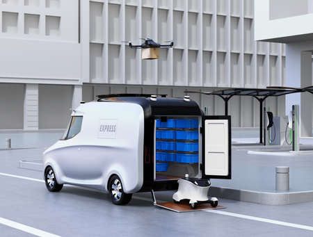 thee: Self-driving van, drone and robot on thee street. Automatic delivery system concept. 3D rendering image. Stock Photo