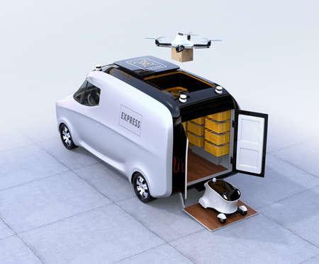 자가 운전 밴, 무인 항공기 및 로봇. 자동 배달 시스템 개념입니다. 3D 렌더링 이미지입니다.