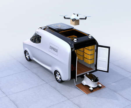 Self-driving van, drone and robot. Automatic delivery system concept. 3D rendering image.