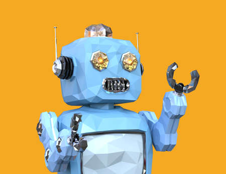 Low poly walking retro robot isolated on yellow background. 3D rendering image. Banco de Imagens