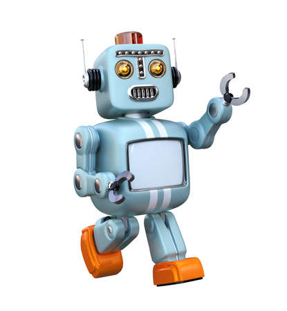 Cute retro robot isolated on white background. 3D rendering image with clipping path. Banco de Imagens - 82168407