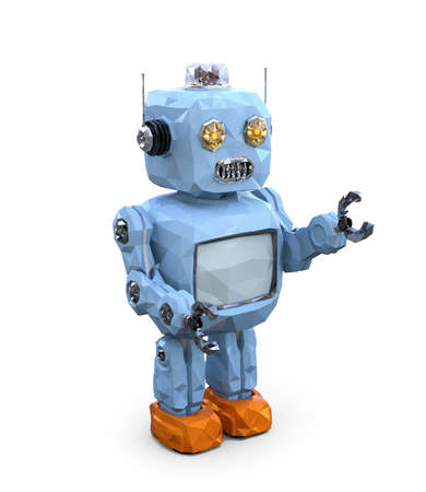 Low poly retro robot isolated on white background. 3D rendering image.