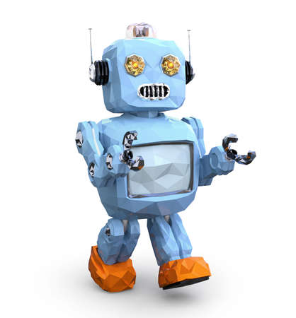 Low poly walking retro robot isolated on white background. 3D rendering image.