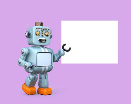 Cute retro robot with white board isolated on pink background. 3D rendering image with clipping path.