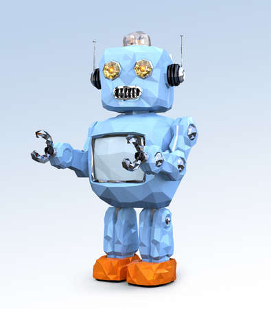 Low poly retro robot isolated on gradient background. 3D rendering image.