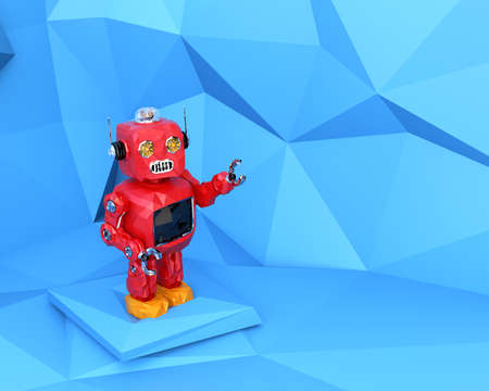 Red low poly robot in pastel blue polygonal background. 3D rendering image.