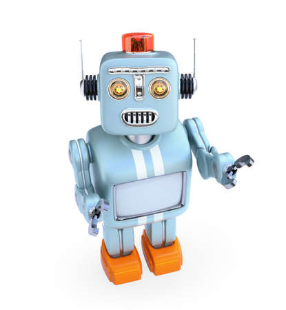 Cute retro robot looks up to the camera. 3D rendering image with clipping path. Banco de Imagens