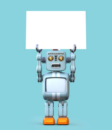 Cute retro robot holding white board isolated on blue background. 3D rendering image with clipping path. Banco de Imagens