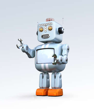 Cute retro robot isolated on gradient background. 3D rendering image with clipping path.