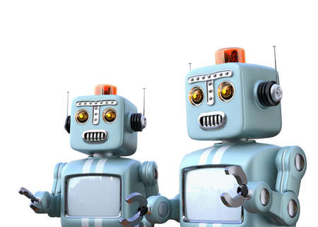 Two retro robots isolated on white background. 3D rendering image with clipping path.