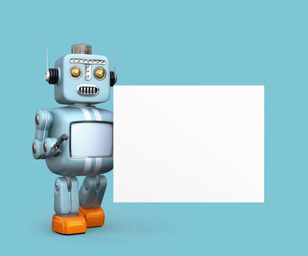 Cute retro robot with white board isolated on blue background. 3D rendering image with clipping path.
