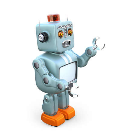 Cute retro robot isolated on white background. 3D rendering image with clipping path. Banco de Imagens