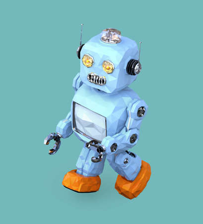 Low poly walking retro robot isolated on blue background. 3D rendering image.