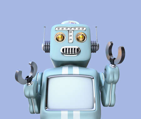 Front view of retro robot isolated on blue background. Blank monitor for copy space. 3D rendering image with clipping path.