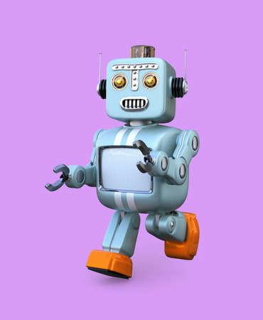 紫色の背景に分離されたレトロなロボットを歩行します。3 D レンダリング画像クリッピング パスと。