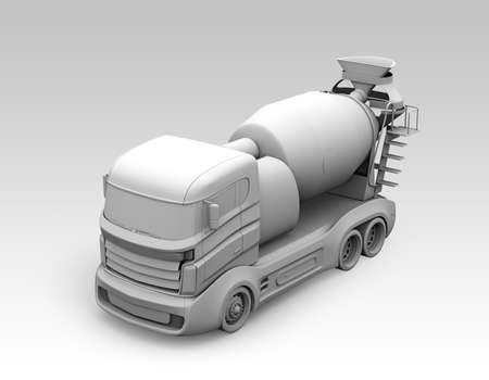 3D clay render of concrete mixer. 3D rendering image.