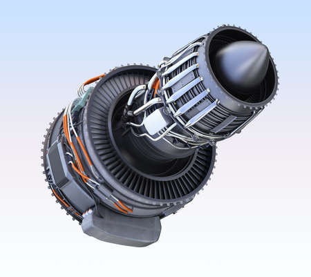 Turbofan  jet engine isolated on light blue  background. 3D rendering image. Stock Photo