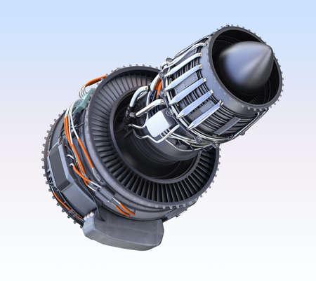 planos electricos: Turbofan motor a reacción aislado sobre fondo azul claro. Imagen de representación 3D.