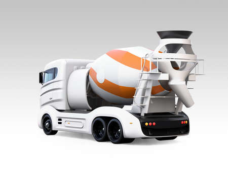 Rear view of concrete mixer electric truck isolated on gradient background. 3D rendering image.