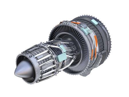 planos electricos: Vista trasera del motor turbofan a reacción aislado sobre fondo blanco. Imagen de representación 3D.