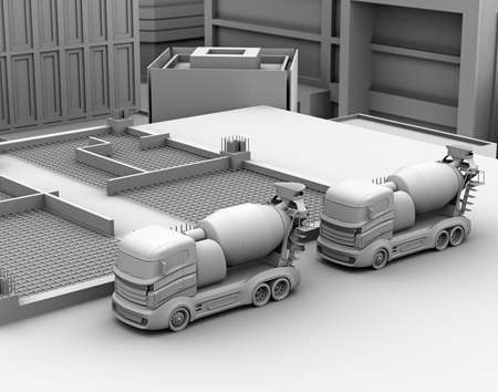3D clay render of concrete mixer trucks parking on the construction site. 3D rendering image.