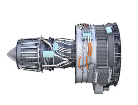 are thrust: Side view of turbofan jet engine isolated on white background. 3D rendering image.