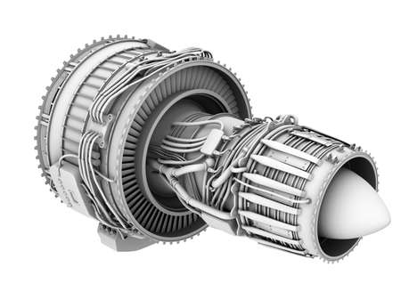3D clay render of turbofan jet engine isolated on white background. 3D rendering image. Banco de Imagens
