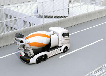 Concrete mixer electric truck driving on the highway. 3D rendering image. 写真素材