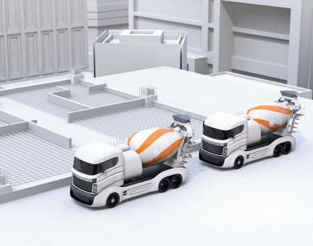 Concrete mixer electric trucks parking on the construction site. 3D rendering image.
