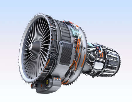 Turbofan jet engine isolated on light blue  background. 3D rendering image.