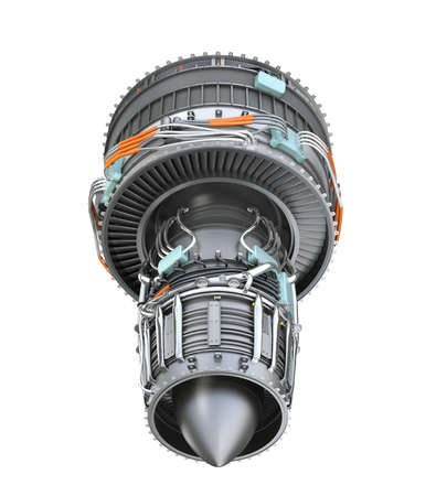 Rear view of turbofan jet engine isolated on white background. 3D rendering image. Stock Photo