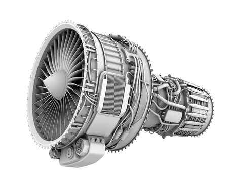 3D clay render of turbofan jet engine isolated on white background. 3D rendering image. Stock Photo