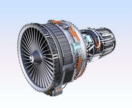 Turbofan jet engine isolated on light blue  background. 3D rendering image.