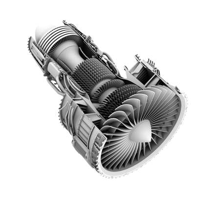 3D clay cutaway render of turbofan jet engine isolated on white background. 3D rendering image.