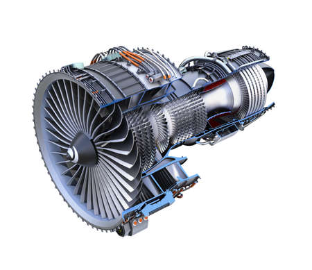Cross section of turbofan jet engine isolated on white background. 3D rendering image with clipping path. Banco de Imagens