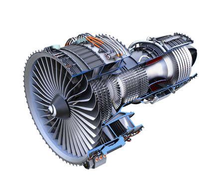 Sección transversal del motor de jet de turbofan aislado sobre fondo blanco. Imagen de representación 3D con trazado de recorte.