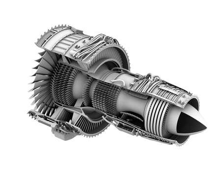planos electricos: 3D arcilla cutaway hacer de turbofan motor de avión aislado sobre fondo blanco. Imagen de representación 3D.