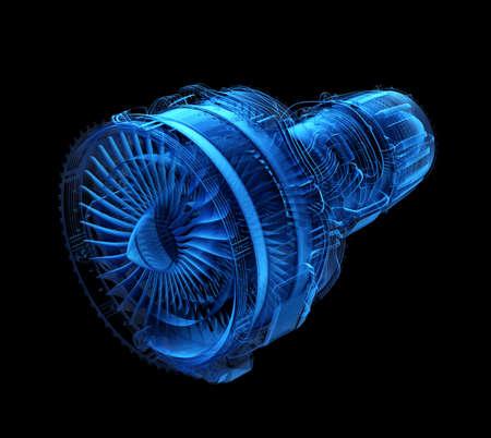 Motor del jet del turbofan del estilo de la radiografía aislado en fondo negro. Imagen de representación 3D. Foto de archivo
