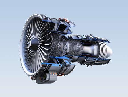 Cross section of turbofan jet engine isolated on light blue background. 3D rendering image. Stockfoto