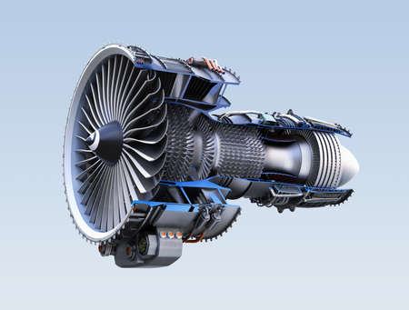 Sección transversal del motor de jet de turbofan aislado en fondo azul claro. Imagen de representación 3D.