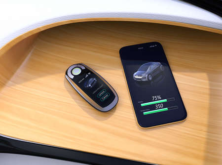 Smart car key and smart phone on electric cars dashboard. 3D rendering image. Фото со стока