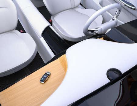 Slimme autosleutel op het dashboard van de elektrische auto. 3D-rendering afbeelding.