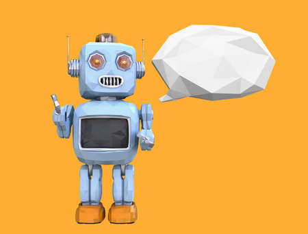 Low poly retro robot and white bubble isolated on orange background. 3D rendering image.