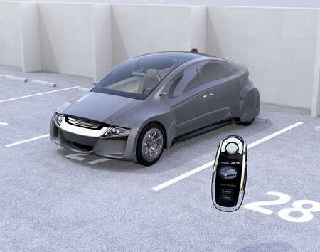 Slimme auto sleutel en elektrische auto in parkeerplaats. 3D-rendering afbeelding. Stockfoto
