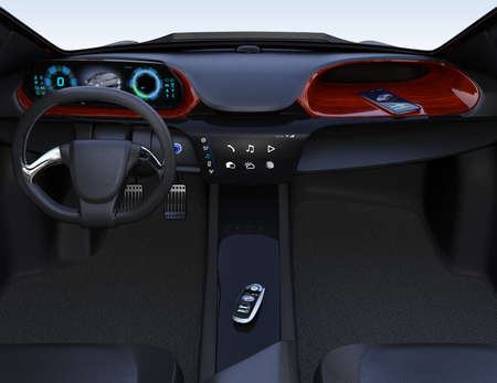 Smart car key on electric car's center console. 3D rendering image. 写真素材