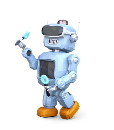 Low poly style retro robot wearing VR headset isolated on white background. 3D rendering image.