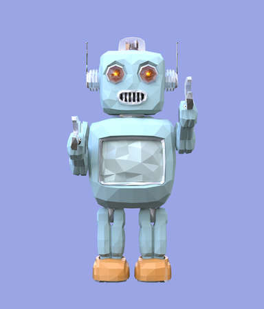 Front view of low poly robot isolated on blue background. 3D rendering image.
