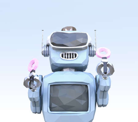 Low poly style retro robot enjoying VR game. 3D rendering image.