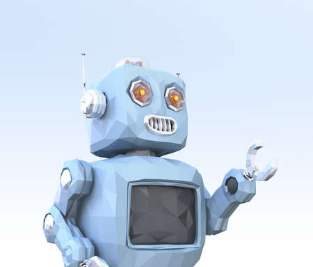 Low poly robot on light blue background. 3D rendering image. Banco de Imagens